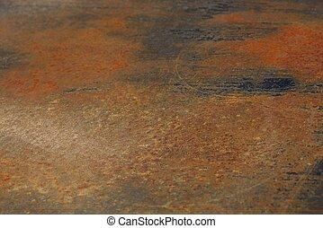 Trasfondo oxidado de metal rojo de una pieza de hierro