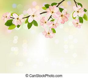 Trasfondo primaveral con árboles floreciendo con flores de primavera. Ilustración del vector.