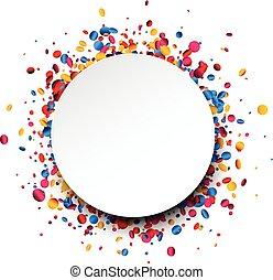 Trasfondo redondo con confeti colorido.