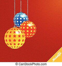 Trasfondo rojo navideño con balones decorados