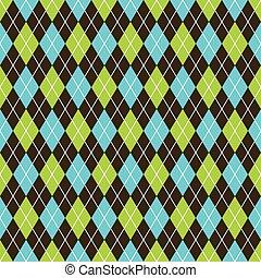 Trasfondo sin rotura de rombos. Negro, azul y verde lima.