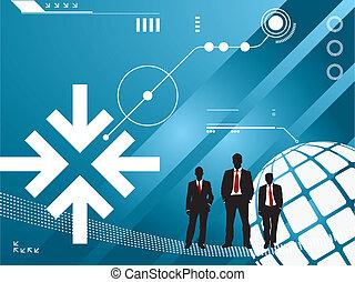 Trasfondo tecnológico con silueta de hombres de negocios