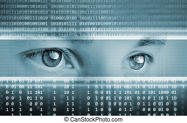 Trasfondo tecnológico de alta tecnología con ojos en pantalla computarizada