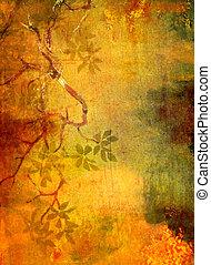 Trasfondo texturado abstracto con patrones florales rojos, verdes y marrones en el fondo amarillo