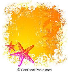 Trasfondo tropical del vector con estrellas de mar