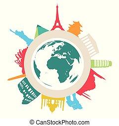 Trasfondo vector de viaje y turismo