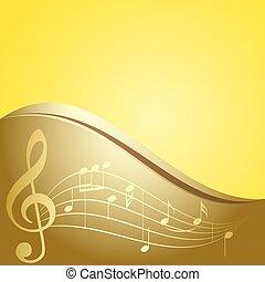 Trasfondo vector dorado, notas musicales curvas