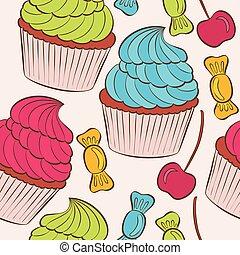 Trasfondo vectorial con un patrón de pastel sin costura.