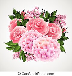 Trasfondo vectorial con una hermosa flor