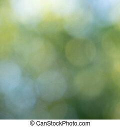 Trasfondo verde azul y verde con círculos bokeh. Abstracción natural
