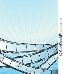 Trasfondo vertical azul con retro cinematografía