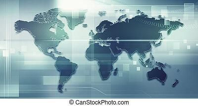 Trasfondos tecnológicos abstractos con mapa terrestre para tu diseño