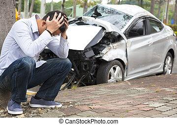 trastorno, conductor, accidente, tráfico, después