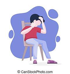 Trastorno mental. El hombre sufre de depresión