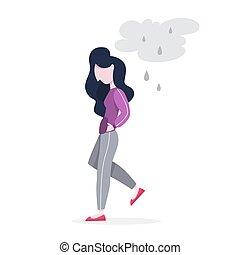 Trastorno mental. Una mujer sufre de depresión