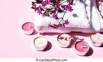 tratamiento, aroma, velas, fondo blanco, espacio de copia, pequeño, balneario, concepto, toalla, rosa florece, algodón