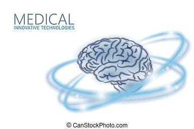 Tratamiento cerebral bajo de la versión 3D. La droga nootrópica habilidad humana estimula la salud mental inteligente. Rehabilitación cognitiva de medicina en la enfermedad de Alzheimer e ilustración del vector de demencia