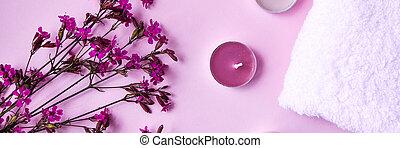 tratamiento del balneario, rosa, aroma, velas, toalla, algodón, copia, blanco, concepto, plano de fondo, espacio, pequeño, flores