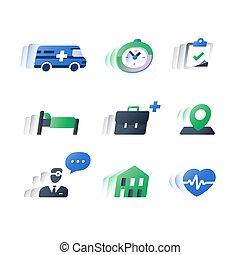 Tratamiento estacionario, servicios de salud, procedimiento médico, ayuda médica profesional, asistencia al paciente, chequeo anual del corazón