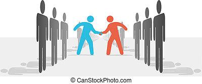 trato, gente, manos, dos, convenir, sacudida, lados