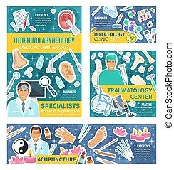 Traumatología, acupuntura, medicina infecciológica