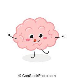 travieso, cerebro, divertido, carácter, vector, caricatura, ilustración