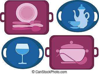 Tray con cuatro platos diferentes