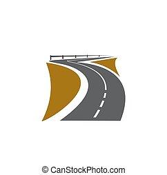 trayectoria, camino, carretera, manera, camino, icono, zona lateral de camino