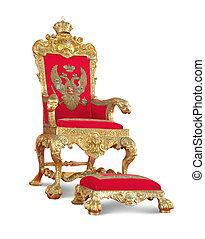 trayectoria, recorte, aislado, throne., dorado, royalty's, blanco