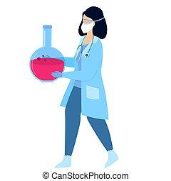 treatment., worker., covid-19., laboratorio, vacuna, enfermera, development., assistant., médico, coronavirus, flask.