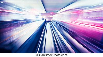 Tren abstracto moviéndose
