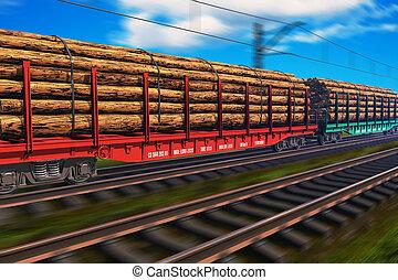 Tren de carga con madera
