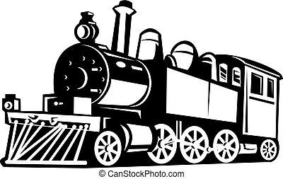 Tren de vapor de vinagre hecho en blanco y negro