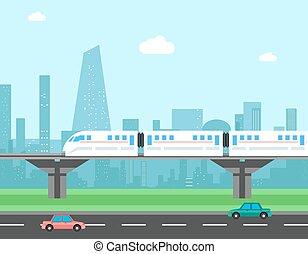 Tren y paisaje urbano. El concepto del vector de transporte