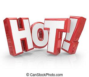 trending, cartas, palabra, caliente, chisporroteo, calor, popular, nuevo, rojo, 3d