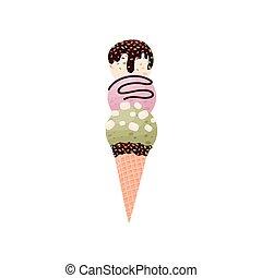 Tres bolas de helado en un cono de gofre. Ilustración de vectores sobre fondo blanco.