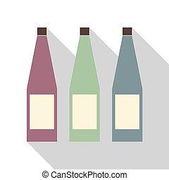 Tres botellas de color diferentes.