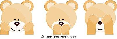Tres caras de osos de peluche