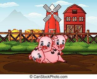 Tres cerdos jugando en la granja con antecedentes de granero rojo