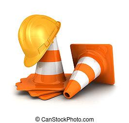 Tres conos de tráfico, un casco de seguridad