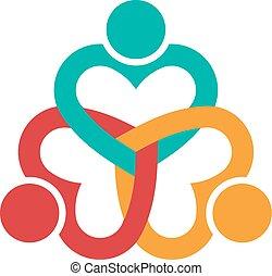 Tres corazones aman a la gente