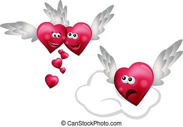 Tres corazones voladores