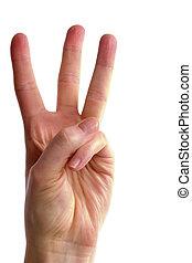 tres, dedos