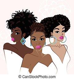 Tres elegantes mujeres de piel oscura