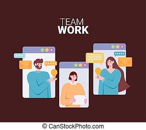 tres, en línea, trabajando, personas