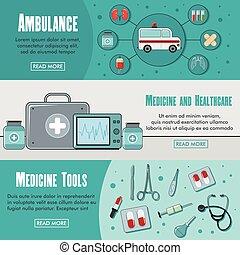 Tres estandartes de medicina horizontales con imágenes coloridas