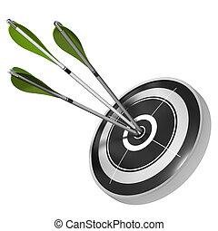 Tres flechas verdes que golpean el centro del mismo blanco, tres dan imagen sobre el fondo blanco