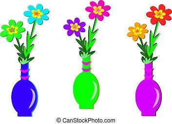 Tres floreros