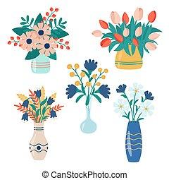 tres, floreros, vector, hermoso, flores, colorido
