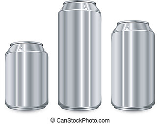Tres frascos de aluminio